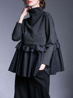 Miting Casual Loose Patchwork Solid Black Women Blouses Source by krlotariza women clothes Black Women Fashion, Look Fashion, Hijab Fashion, Autumn Fashion, Fashion Dresses, Womens Fashion, Fashion Tips, Fashion Design, Fashion Blouses