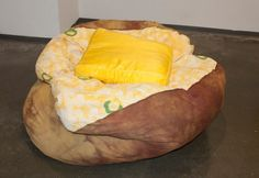Baked potato beanbag chair with a butter pat pillow...