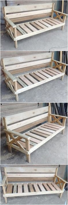 For an impressive entrance into the garden of your home, we offer elegant artwork on a wooden garden bench. It's a unique option. They can be easy because they can easily change the impressions. Wooden Pallet Table, Wooden Garden Benches, Pallet Boxes, Pallet Bench, Wooden Pallets, Pallet Ideas, Pallet Furniture, Furniture Projects, Pallet Crafts