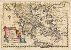 Χάρτης ελλάδας αντίκα ΚΩΔ. MOREA GREECE. Σε Poster σε Αυτοκόλλητο σε Καμβά ή Foam Board Vintage World Maps