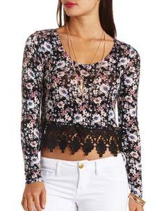 ae743d9b530f0 long sleeve crochet-trimmed floral crop top