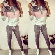 Sexy Casual Women Tops Sweatshirt + Pants Track Sweat Suits.