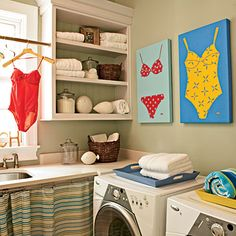 Cute beach-y laundry room