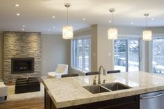 The fireplace stone is Sierra Shadowstone Realstone x 24 - Bright and Spacious - contemporary - Kitchen - Ottawa - Copperstone Kitchens Kitchen Plans, Cambria Countertops, Kitchen Remodel, Kitchen Decor, Contemporary Kitchen, Home Kitchens, Open Kitchen And Living Room, Small Condo Kitchen, Contemporary Open Kitchens