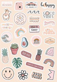 Preppy Stickers, Cute Laptop Stickers, Kawaii Stickers, Cool Stickers, Luggage Stickers, Journal Stickers, Scrapbook Stickers, Planner Stickers, Printable Scrapbook Paper