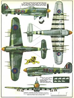 Vintage Aeroplanes Hawker Typhoon of 198 Fighter Squadron. Ww2 Aircraft, Fighter Aircraft, Military Aircraft, Fighter Jets, Hawker Typhoon, Aircraft Painting, Ww2 Planes, Aviation Art, Model Airplanes