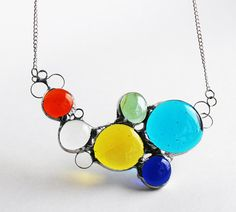 Reserved for Danielle - Stained Glass Jewelry Necklace - Statement Jewelry – Bold Colorful Glass Nuggets – OOAK    Custom colors as per convo.    Life is meant to be fun! Be original. Be BOLD. You are unique, your jewelry should be too. Show your personality.    Color lifts your mood. Without color there would be no excitement. Imagine how wonderful you will feel wearing this necklace with its extraordinary colors of glass gems including Aquamarine, cobalt blue, bright golden yellow, light…