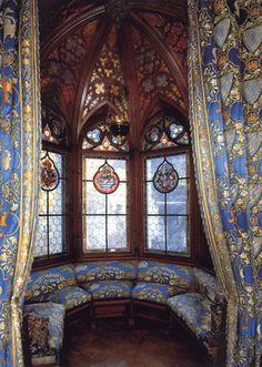 King Ludwig II bedroom window in Neuschwanstein Castle                                                                                                                                                      More