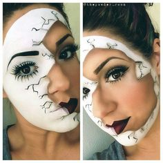 apple for lips and snow white on one side then evil queen or old hag make-up on the other side