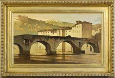 BERTRAM NICHOLLS ( 1883 1974 ) - Ponte di Pietra - Verona 1928  - Oil on canvas,  40.6x59.4 cm.