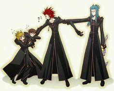 Axel, Roxas, Xion and Saïx - Kingdom Hearts