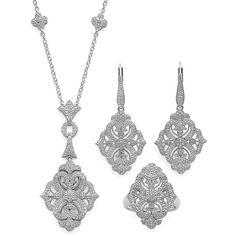 Vintage Inspirations™ 1/10 CT. T.W. Diamond Vintage Boxed 3-pc. Jewelry Set featuring polyvore women's fashion jewelry jewelry sets diamond jewellery vintage style jewelry vintage jewelry diamond pendant diamond pendant jewelry