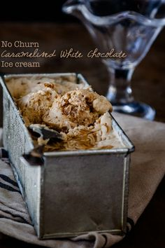 No churn caramelised white chocolate ice cream - delicious, divine and only 3 ingredients! |Get the recipe at  DeliciousEveryday.com