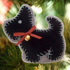 Scottish Terrier Felt Christmas Tree Ornament