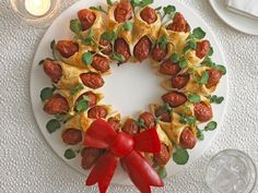 Mini Hot Dog Christmas Wreath (minus the scary looking bow)