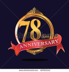 78 years anniversary golden logo with ring and soft red ribbon. anniversary logo for birthday, celebration, wedding, party