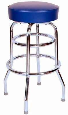 This is our 30 inch quick ship double rung swivel bar stool, with the added stability and look of a functional second footrest ring. It is a commercial bar stool and manufactured in the USA. Our black bar stool ships in just two days. Retro Bar Stools, Chrome Bar Stools, Swivel Bar Stools, Counter Stools, Bar Counter, Service Counter, Restaurant Bar Stools, Greens Restaurant, Black Restaurant