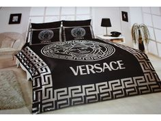 black satin comforter | VERSACE BEDDING SET SATIN MEDUSA ( DUVET SET ) BLACK / GRAY