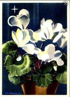 Gratulasjonskort med blomster Milly Heegaard Utg Børrehaug og Rønning brukt 1940-tallet