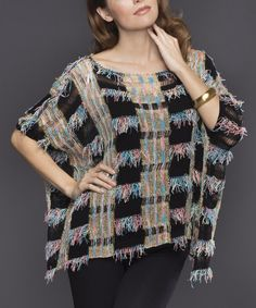 Look at this Black & Pink Fringe Dolman Top on #zulily today!
