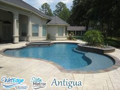 Satin Matrix - Antigua is one of our favorite colors. This deep blue finish is made with pebbles that are sourced all the way from New Zealand because of their smoothness. Your friends will envy your pool finish choice.