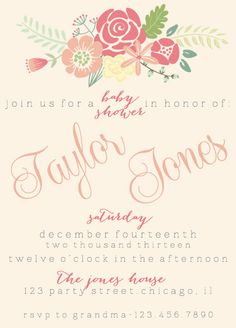 DIY Printable Garden Baby Shower Invitation