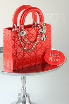 "Dior Red-Patent ""Cannage"" Purse Cake"