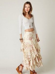 $263 Free People Floral Pink Ivory Layered Rounded Godet Maxi Skirt