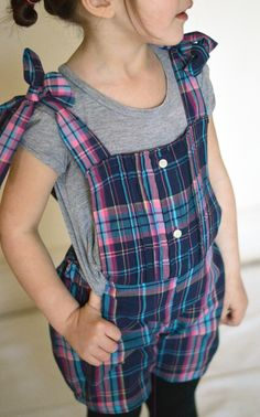 Cute romper upcycled from a man's plaid shirt.