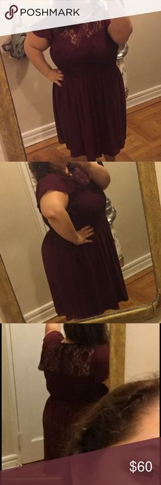 ASOS Curve brand burgundy dress Perfect for the holidays, this deep red dress with lace detail and flutter sleeves has a beautiful fit. ASOS Curve brand. ASOS Curve Dresses Midi