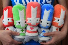 Get all 5 Castle Crashers Knight Plush for only $60, wooot!      KNIGHT PLUSH BUNDLE ; SALE $60; INCLUDES: RED, BLUE, GREEN, ORANGE, AND PINK KNIGHT PLUSH; AGES 8+, NOT SUITABLE FOR CHILDREN UNDER 36 MONTHS; © 2014 - THE BEHEMOTH ALL RIGHTS RESERVED