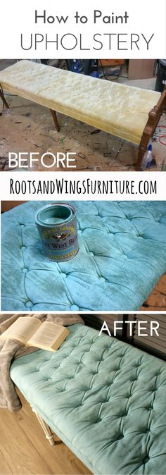 Painted upholstery using General Finishes Chalk Style Paint in Key West Blue. By Jenni of Roots and Wings Furniture.