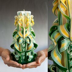 Carved candle - Large candle - Green candle. $36.00, via Etsy.