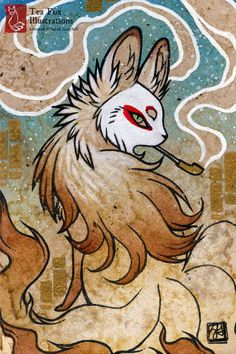 Smoke V is part of a series of ACEO smoke foxes. - - - - - - - - - - - - - -  Overall Size: 4x6 inches Edition: Open Border: No border;