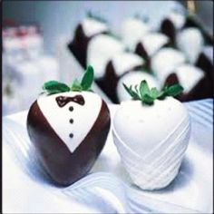 Bride and groom chocolate covered strawberries!