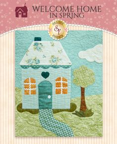 """This is for the Welcome Home in Spring Traditional applique option. If you prefer to complete this quilt with pre-fused/laser cut applique' instead, click HERE. There's nothing like home sweet home! Welcome Home in Spring is a delightful Shabby Fabrics original design that is sure to become a cherished family heirloom. This charming 56½"""" x 64½"""" quilt features Shabby Fabrics' debut fabric collection,Welcome Home Collection One! This applique'd quilt features quaint homes, rolling..."""