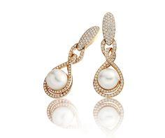 Pendants d'oreille - Or rose, perles de culture et diamants