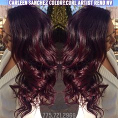 Red violet Balayage colormelt by Carleen Sanchez hair artist Reno,NV