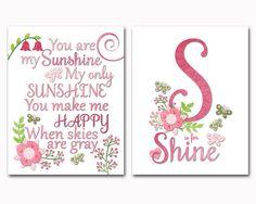 Υou are my sunshine wall art nursery decor pink by PinkRockBabies Girls Room Wall Decor, Toddler Room Decor, Playroom Decor, Kids Artwork, Kids Room Art, Baby Nursery Art, Nursery Decor, Floral Bedroom, My Sunshine