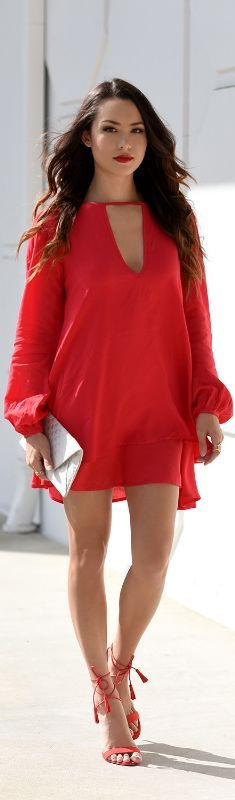Shein Red Dress | Charlotte Russe Lace Up Heels /   Fashion Look by Hapa Time