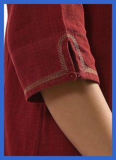 Buy Maroon SURKH Handloom Cotton Kurta with Embroidery Women Kurtas Rang Raas Add a splash of color to your wardrobe vibrant Neck Designs For Suits, Sleeves Designs For Dresses, Neckline Designs, Dress Neck Designs, Blouse Designs, Sleeve Designs For Kurtis, Kurti Embroidery Design, Embroidery Suits, Embroidery Online