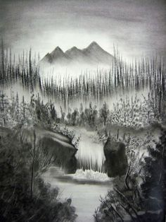 black and white waterfall mountain picture - Google Search