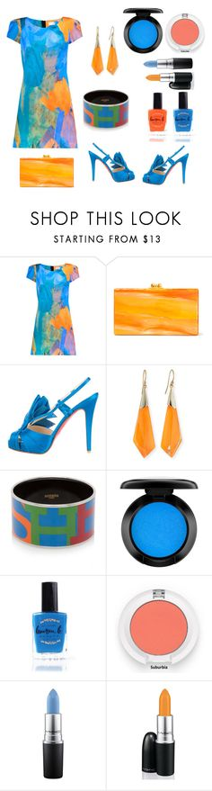 Untitled #734 by siriusfunbysheila1954 on Polyvore featuring Milly, Christian Louboutin, Edie Parker, Hermès, Alexis Bittar, MAC Cosmetics, John Lewis and Lauren B. Beauty