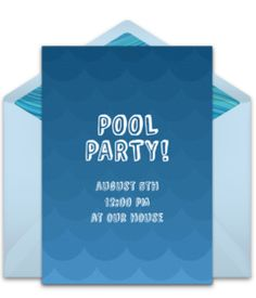 Customizable, free Pool Waves online invitations. Easy to personalize and send for a party. #punchbowl