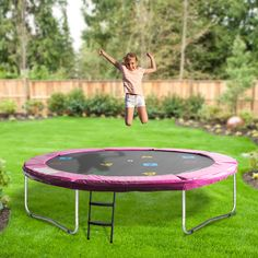 Oz Trampolines Round Trampoline' is a great compact trampoline perfect for those limited by space and not requiring a safety net. Available in 3 fun bright colours, with a printed mat- this fun and bright design provides hours of trampolining enjoyment. Outdoor Tables, Outdoor Decor, Poker Table, Trampolines, Bright Colours, Things That Bounce, Compact, Outdoor Furniture