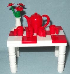 Lego Table Set of Red Teapot Pitcher 4 Cups Flowers Tea Party | eBay