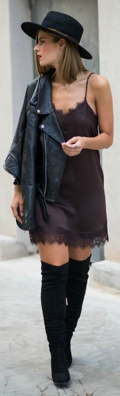 A little lace fringed dress + sexy, feminine style + adaptable + will work with almost anything + leather jacket + new and in demand + pyjama style + Ms Treinta.   Dress: Buylevard, Biker Jacket/Boots/Hat: Zara, Bag: Formula Joven.