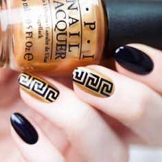 Create a design on your nails with these Greek tape nail vinyls that even the Greek Gods will be impressed. Greek strip size: x x Stencil length: 1 Crazy Nail Designs, Beautiful Nail Designs, Nail Art Designs, Nails Design, Nail Stencils, Metallic Nail Polish, How To Cut Nails, Geometric Nail Art, Nail Tape