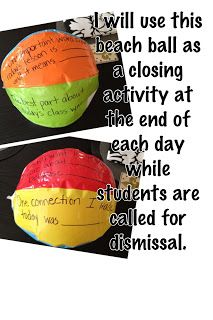"""Routine: Reflection Beach Ball: At the end of each day, students will throw around a beach ball with various reflection prompts written on each side- including """"what was the best part of your day?"""" or """"what do you want to improve on tomorrow?"""" or """"what did you learn today?"""" Doing this at the end of each day will establish routine for everyday reflection, which is a component of global competency- students recognizing their own and other perspectives."""