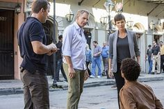 The NCIS team investigates the murder of a Petty Officer found in a Mardi Gras float storage facility with an engagement ring and proposal plan in hand. However, the case takes a mysterious turn when the team is unable to locate his supposed long-term girlfriend, on NCIS: NEW ORLEANS,18 2014 (9:00-10:00, ET/PT), on the CBS Television Network. Pictured L-R: Lucas Black as Special Agent Christopher LaSalle, Scott Bakula as Special Agent Dwayne Pride, Zoe McLellan as Special Agent Meredith…
